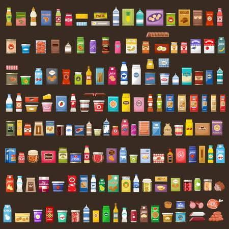 Set of products. Supermarket. Food. Vector illustration Stock Illustratie