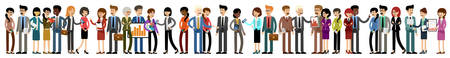 Big banner of business people. Managers, directors and secretaries. Vector illustration