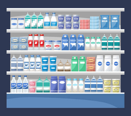 Counter with dairy products. Supermarket. Vector illustration Stockfoto - 101011053