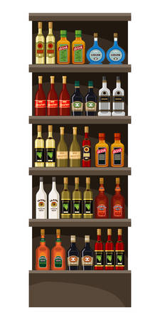 Shelves with alcohol. Drinks. Vector illustration