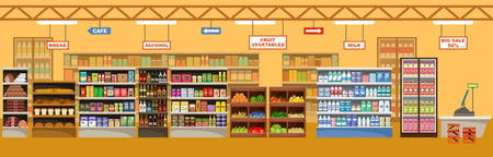 Supermarket interior with products. Big store. Vector illustration Stockfoto - 101011055