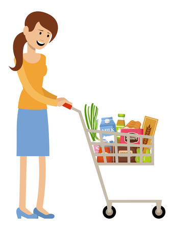 Woman with a grocery basket. Vector illustration