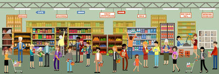 Supermarket interior with people. Vector illustration Stockfoto - 101011057