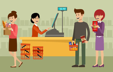 Cash desk in a supermarket and people with purchases. Vector illustration Stockfoto - 124846776