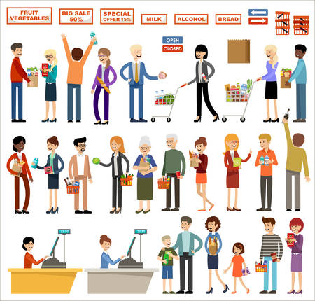 Set of people in a supermarket on a white background. Shopping, products, purchases. Vector illustration Stock Illustratie