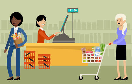 Cash desk in a supermarket and people with purchases. Vector illustration