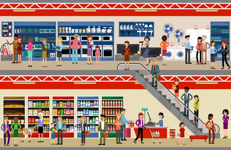 People in mall shopping center. Supermarket. Equipment and electronics. Vector illustration