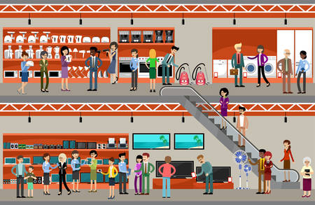 Personas en un supermercado de los equipos y la electrónica. Ilustración vectorial Ilustración de vector