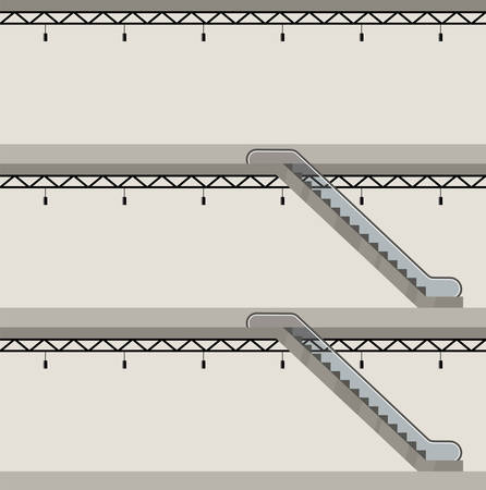 Building in a section. Three floors. Escalator. Vector illustration