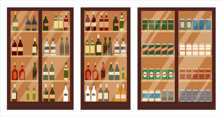 Shop of alcohol. Shelves. Vector illustration Stockfoto - 124846784