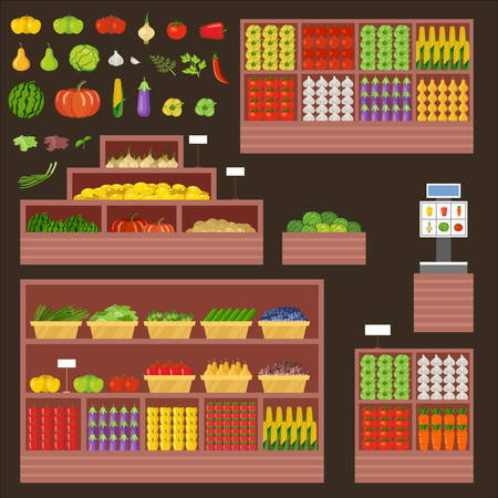 Furniture for vegetable and fruit shop. Counter, show-window. Vector illustration Stockfoto - 124846785