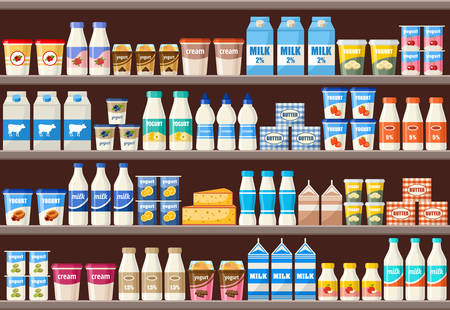 Counter with dairy products. Supermarket. Vector illustration