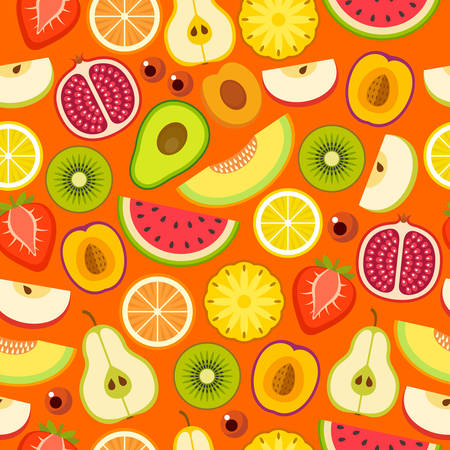 Tropical fruit seamless pattern on the orange background. Vector illustration Stockfoto - 124846788