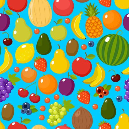Tropical fruit seamless pattern on the orange background. Vector illustration