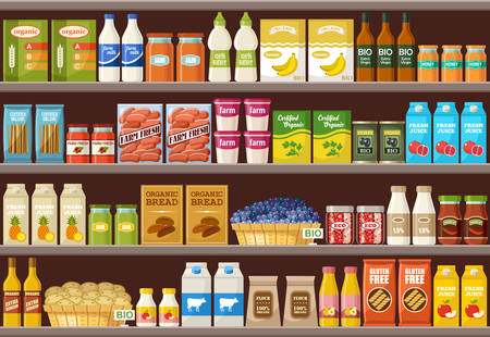 Shop of organic products. Supermarket. Vector illustration 스톡 콘텐츠 - 124846791