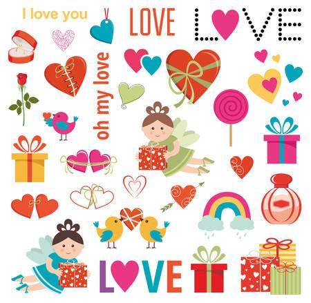 Set of love elements. Gifts, hearts, birds. Vector illustration Stock Illustratie