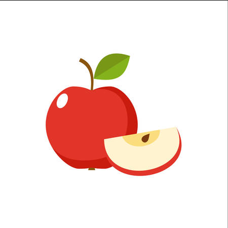 Apple on a white background isolated. Vector illustration  イラスト・ベクター素材