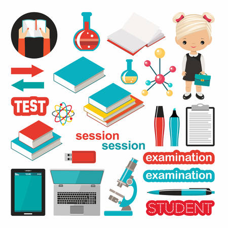 Set of school subject. Study, students. Vector illustration Illustration