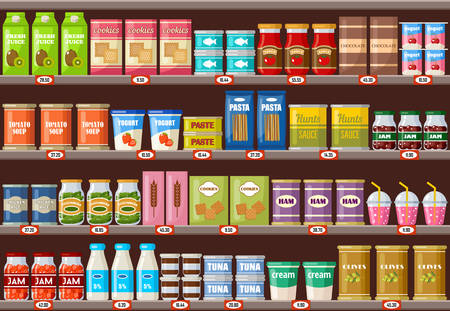 Supermarket, shelves with products and drinks Ilustração