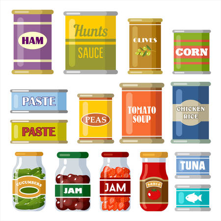 Canned food on the white background. Vector Ilustração