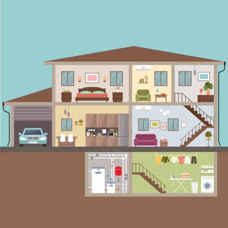 Huis in snit. Interieur. vectorillustratie