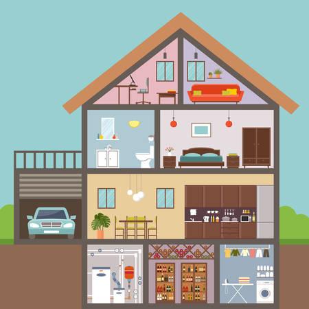 House in cut. Interior. Vector Illustration Vektorové ilustrace