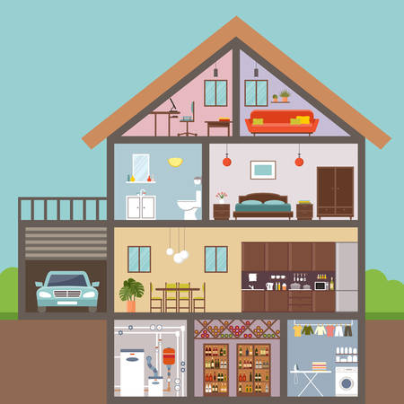 Huis in snit. Interieur. vectorillustratie Vector Illustratie