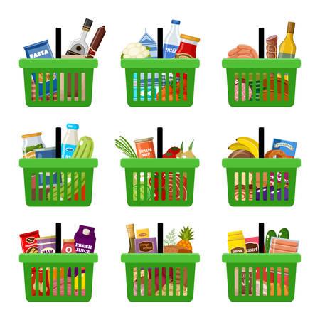 Shopping baskets with groceries. Supermarket. Vector illustration Vektoros illusztráció