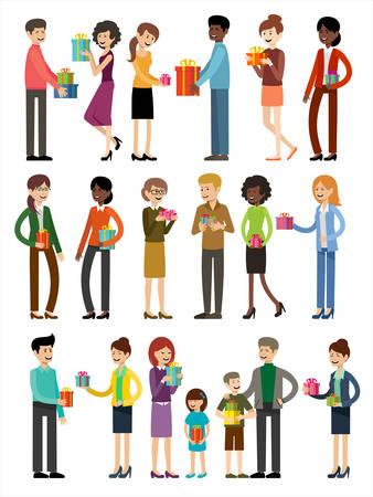 Set of people with presents Ilustración de vector