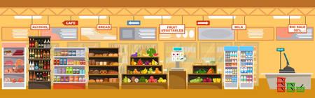 Interior de supermercado con productos. Tienda grande. Ilustración vectorial