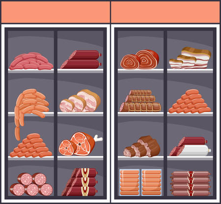 Showcase with meat products. Vector illustration