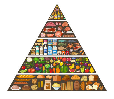 Food pyramid healthy eating infographic. Vector flat illustration