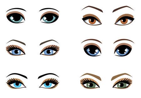 Ensemble d'yeux de femme de différentes couleurs. Illustration vectorielle