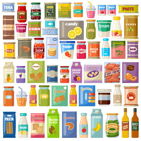 Set of products on a white background. Grocery. Gastronomy. Canned food, juice, jam, cookies. Vector flat illustration. Ilustración de vector