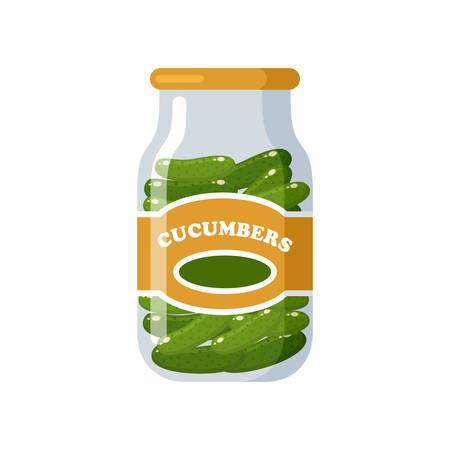 Cucumbers. Canned. Tinned goods product stuff, preserved food, supplied in a sealed can. Isolated. Vector flat illustration