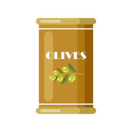 Olives. Canned. Tinned goods product stuff, preserved food, supplied in a sealed can. Isolated. Vector flat illustration