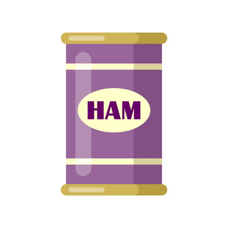 Ham. Canned. Tinned goods product stuff, preserved food, supplied in a sealed can. Isolated