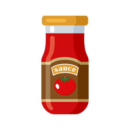 Sauce. Canned. Tinned goods product stuff, preserved food, supplied in a sealed can. Isolated. Vector flat illustration