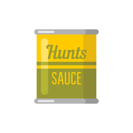 Hunts. Canned. Tinned goods product stuff, preserved food, supplied in a sealed can. Isolated. Vector flat illustration