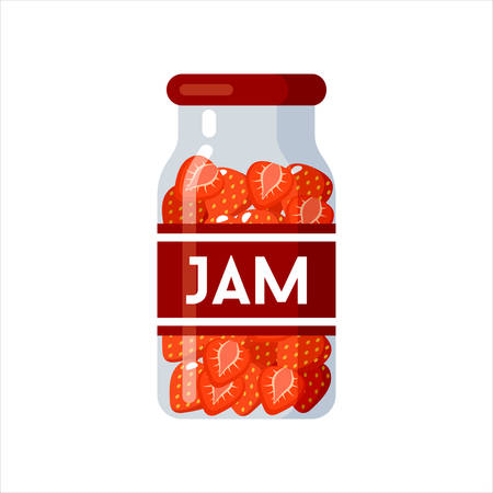 Strawberry jam. Canned. Tinned goods product stuff, preserved food, supplied in a sealed can. Isolated. Vector flat illustration