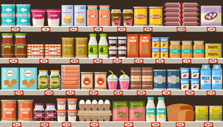 Supermarket, shelves with products and drinks. Vector flat illustration