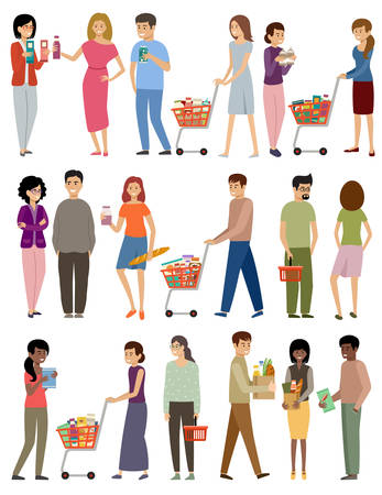 People with grocery baskets and trolleys on a white background. Vector flat illustration