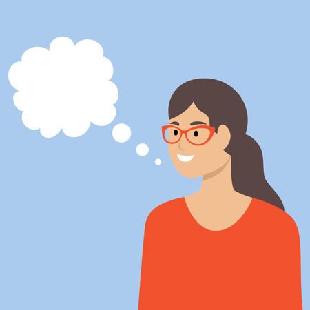 Woman on a blue background with white text box. Empty speech bubble. Vector flat illustration. Ilustração