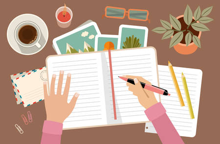 Woman s hands holding pen and writing in diary. Personal planning and organization. Workplace. Vector flat illustration