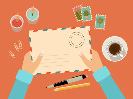 Hands holding envelope with stamps. Stationery. Top view. Sending written letter through postal service. Vector flat illustration Vetores