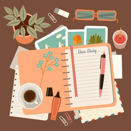 Workplace with a personal diary. Personal planning and organization. Vector flat illustration Ilustración de vector