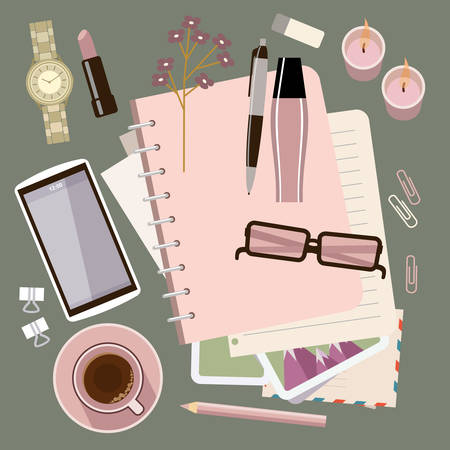 Personal diary on the table. Womens glamorous things. Clock, lipstick, stationery, candles, smartphone. Stylish workplace. Vector flat illustration Ilustracja