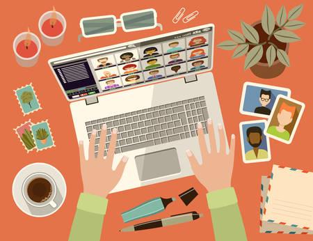 Female hands on laptop keyboard. Social networks. Virtual communication. Vector flat illustration Ilustracja