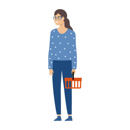Woman holding an empty shopping basket.  Vector illustration