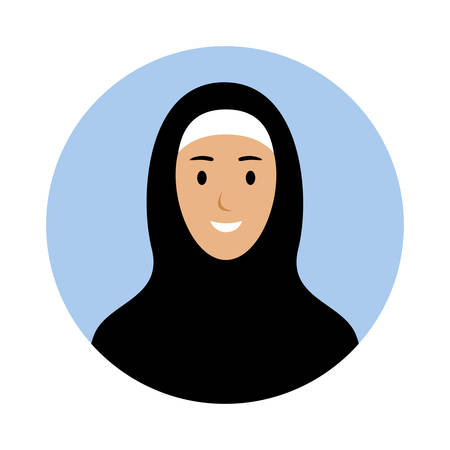 Avatar of a young woman in a hijab. Muslim. National clothes. Vector flat illustration.